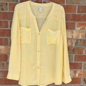 Chico's Women Size 3 Yellow Tunic with lace
